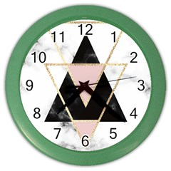 Triangles,gold,black,pink,marbles,collage,modern,trendy,cute,decorative, Color Wall Clocks by 8fugoso