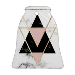 Triangles,gold,black,pink,marbles,collage,modern,trendy,cute,decorative, Bell Ornament (two Sides)