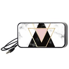 Triangles,gold,black,pink,marbles,collage,modern,trendy,cute,decorative, Portable Speaker by 8fugoso