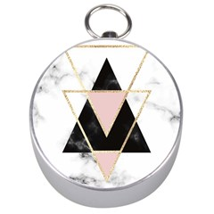 Triangles,gold,black,pink,marbles,collage,modern,trendy,cute,decorative, Silver Compasses by 8fugoso