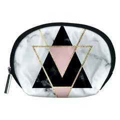 Triangles,gold,black,pink,marbles,collage,modern,trendy,cute,decorative, Accessory Pouches (medium)  by 8fugoso