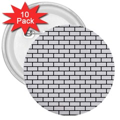 Brick1 Black Marble & White Linen 3  Buttons (10 Pack)