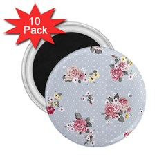 Floral Blue 2 25  Magnets (10 Pack)  by 8fugoso