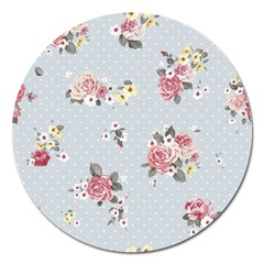 Floral Blue Magnet 5  (round) by 8fugoso