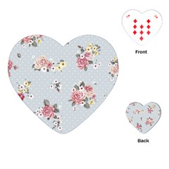 Floral Blue Playing Cards (heart)  by 8fugoso