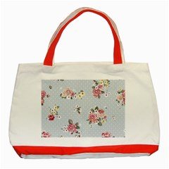 Floral Blue Classic Tote Bag (red) by 8fugoso