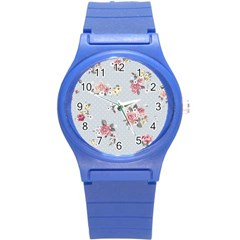 Floral Blue Round Plastic Sport Watch (s) by 8fugoso