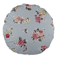 Floral Blue Large 18  Premium Round Cushions by 8fugoso