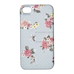 Floral Blue Apple Iphone 4/4s Hardshell Case With Stand by 8fugoso