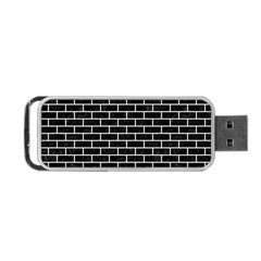 Brick1 Black Marble & White Linen (r) Portable Usb Flash (two Sides) by trendistuff