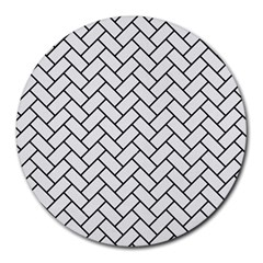 Brick2 Black Marble & White Linen Round Mousepads by trendistuff