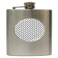 Brick2 Black Marble & White Linen Hip Flask (6 Oz) by trendistuff