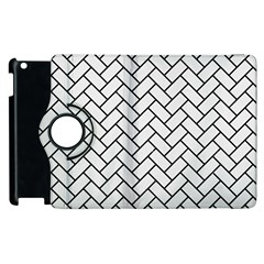 Brick2 Black Marble & White Linen Apple Ipad 3/4 Flip 360 Case by trendistuff