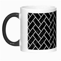 Brick2 Black Marble & White Linen (r) Morph Mugs by trendistuff