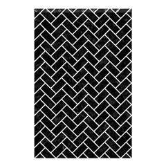 Brick2 Black Marble & White Linen (r) Shower Curtain 48  X 72  (small)  by trendistuff