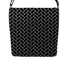 Brick2 Black Marble & White Linen (r) Flap Messenger Bag (l)  by trendistuff