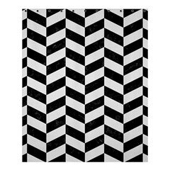 Chevron1 Black Marble & White Linen Shower Curtain 60  X 72  (medium)  by trendistuff