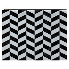 Chevron1 Black Marble & White Linen Cosmetic Bag (xxxl)  by trendistuff