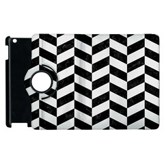 Chevron1 Black Marble & White Linen Apple Ipad 3/4 Flip 360 Case by trendistuff