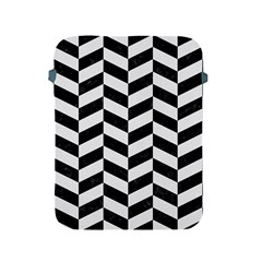 Chevron1 Black Marble & White Linen Apple Ipad 2/3/4 Protective Soft Cases by trendistuff