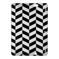 Chevron1 Black Marble & White Linen Kindle Fire Hdx 8 9  Hardshell Case by trendistuff