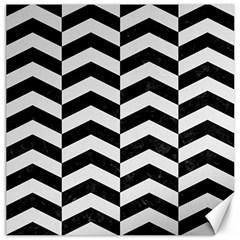Chevron2 Black Marble & White Linen Canvas 12  X 12   by trendistuff