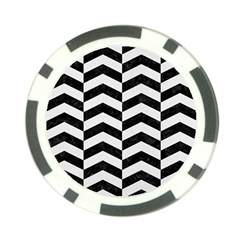Chevron2 Black Marble & White Linen Poker Chip Card Guard by trendistuff