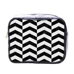 Chevron2 Black Marble & White Linen Mini Toiletries Bags by trendistuff