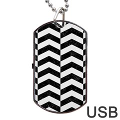 Chevron2 Black Marble & White Linen Dog Tag Usb Flash (one Side) by trendistuff