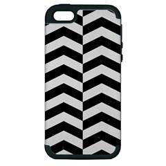Chevron2 Black Marble & White Linen Apple Iphone 5 Hardshell Case (pc+silicone)