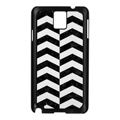 Chevron2 Black Marble & White Linen Samsung Galaxy Note 3 N9005 Case (black) by trendistuff
