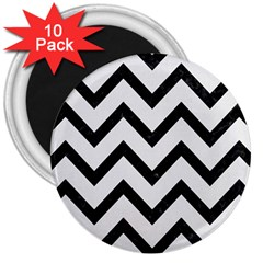 Chevron9 Black Marble & White Linen 3  Magnets (10 Pack)  by trendistuff
