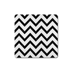 Chevron9 Black Marble & White Linen Square Magnet
