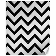 Chevron9 Black Marble & White Linen Canvas 11  X 14   by trendistuff