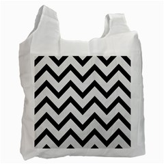 Chevron9 Black Marble & White Linen Recycle Bag (two Side)  by trendistuff