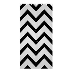 Chevron9 Black Marble & White Linen Shower Curtain 36  X 72  (stall)  by trendistuff