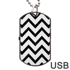 Chevron9 Black Marble & White Linen Dog Tag Usb Flash (one Side) by trendistuff
