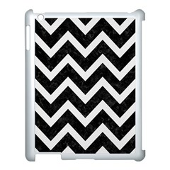 Chevron9 Black Marble & White Linen (r) Apple Ipad 3/4 Case (white) by trendistuff