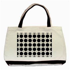 Circles1 Black Marble & White Linen Basic Tote Bag by trendistuff