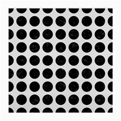 Circles1 Black Marble & White Linen Medium Glasses Cloth (2 Side) by trendistuff