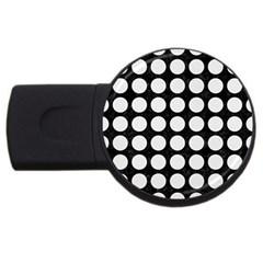 Circles1 Black Marble & White Linen (r) Usb Flash Drive Round (2 Gb) by trendistuff