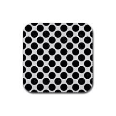 Circles2 Black Marble & White Linen Rubber Square Coaster (4 Pack)  by trendistuff