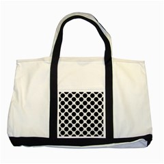 Circles2 Black Marble & White Linen Two Tone Tote Bag by trendistuff