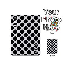 Circles2 Black Marble & White Linen Playing Cards 54 (mini)  by trendistuff