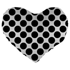 Circles2 Black Marble & White Linen Large 19  Premium Heart Shape Cushions by trendistuff