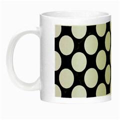 Circles2 Black Marble & White Linen (r) Night Luminous Mugs by trendistuff