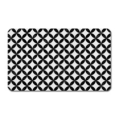 Circles3 Black Marble & White Linen Magnet (rectangular) by trendistuff
