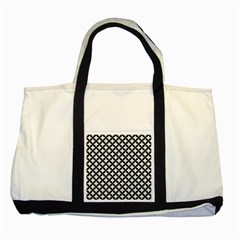 Circles3 Black Marble & White Linen Two Tone Tote Bag by trendistuff