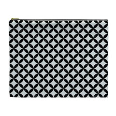 Circles3 Black Marble & White Linen Cosmetic Bag (xl) by trendistuff