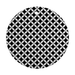 Circles3 Black Marble & White Linen (r) Round Ornament (two Sides) by trendistuff